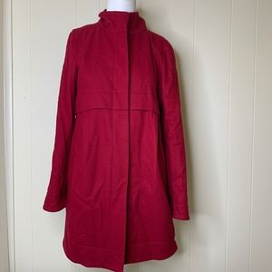 Theory Red Wool Button Down Jacket Loris Small